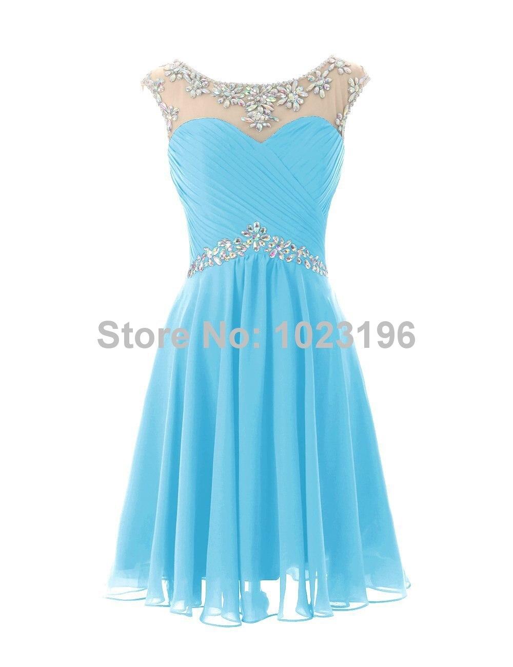 2017 Hot Sexy Short Mint Green Royal Crystal Chiffon Prom Dress ...