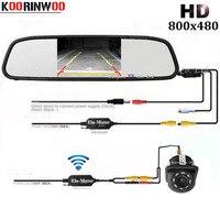 Koorinwoo 2019 Wireless Parking Kit HD CCD 8 LED Lights Car Rear View Camera Reversing 4.3 Car Monitor Mirror Video Display Auto