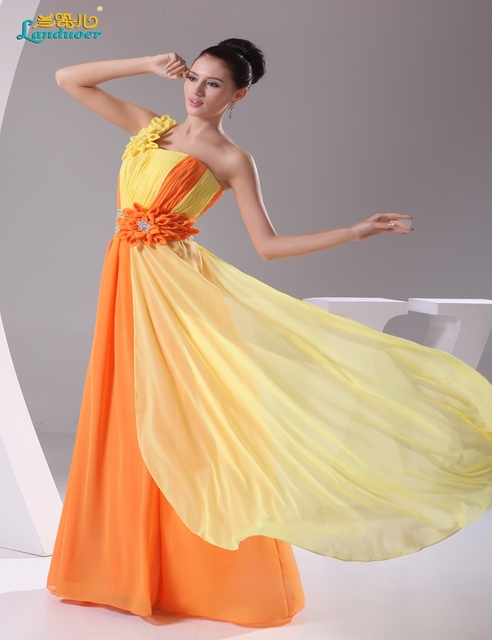 gradient prom dresses 2017 long chiffon yellow and orange
