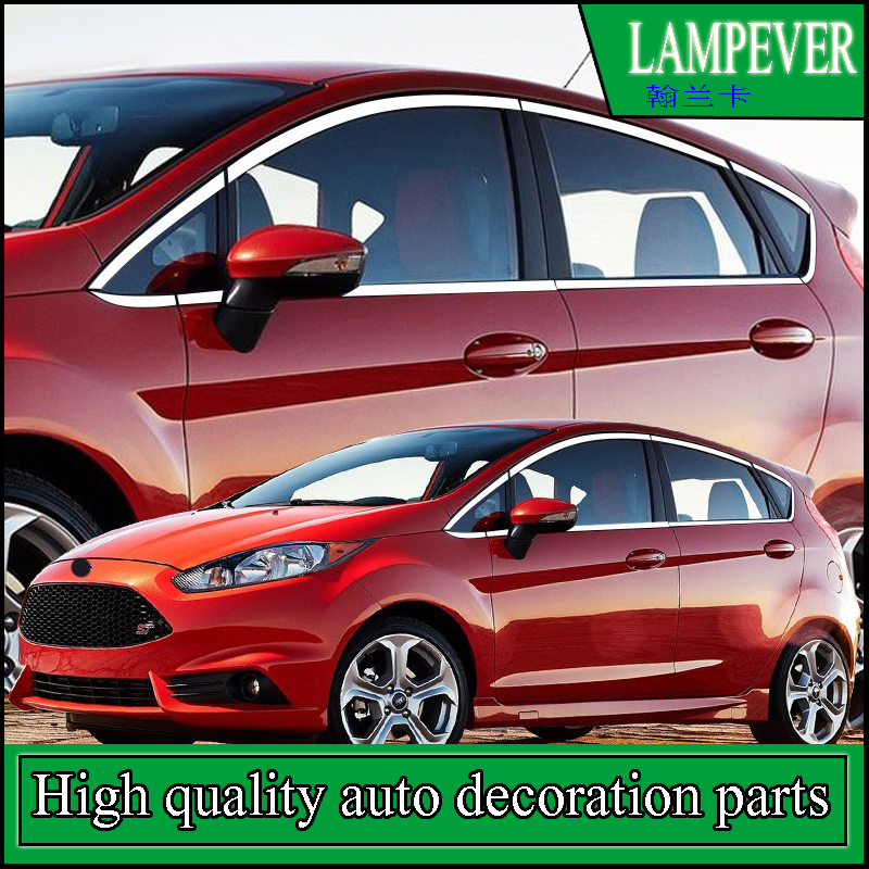 For Ford Fiesta Hatchback Or Sedan 2009-2015 Car Window Stainless Steel Cover Trim Covers Chromium Styling Strip Car Accessories stainless steel full window trim decoration strips for ford focus 3 sedan 2012 2013 2014 car styling car covers 20
