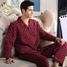 Fashion Autumn Men Pajamas Home Clothing Long Sleeve Warm Winter Pyjamas Sleepwear Male Thicken Cotton Sleep Lounge M-4XL Size
