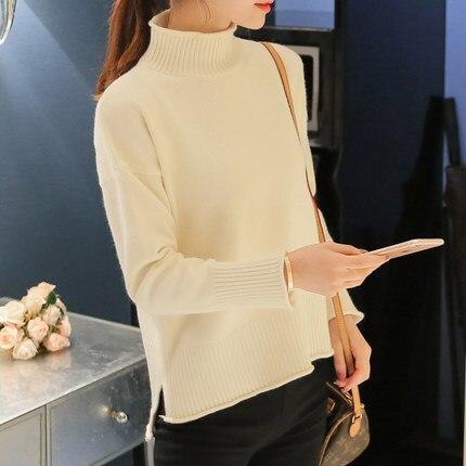 Suéter femenino de Corea Del cabeza de una sección corta de un blanco desató en