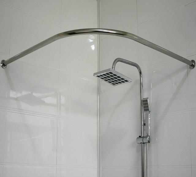 Thick 304 Stainless Steel Curved Shower Curtain Rod L Shaped