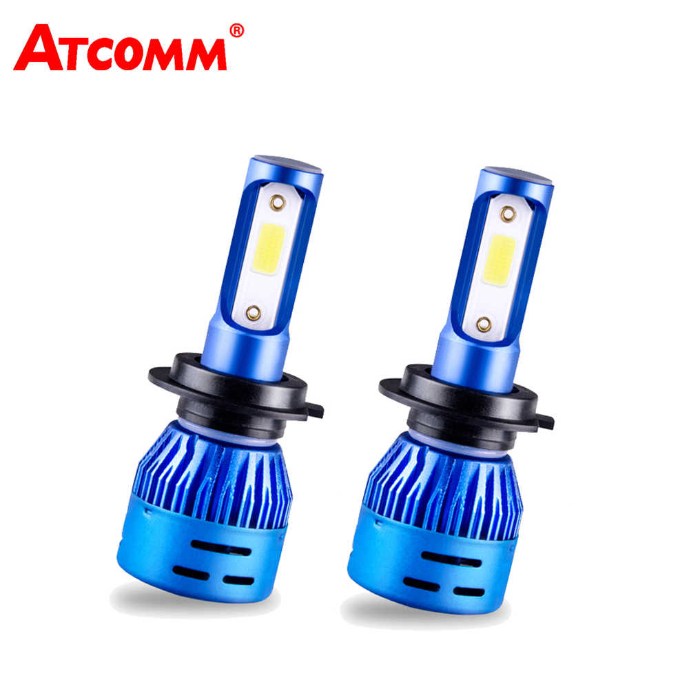 ATcomm LED H4 H7 Mini Car Turbo Headlight Bulbs 12V 6500K 4300K 8000Lm 72W COB HB3 HB4 H11 H8 H9 24V LED H1 Auto Ice Headlamp