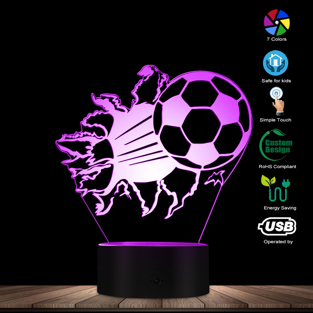 3D Football Night Table Lamp Bursting Soccer 3D Optical Illusion LED Lights Football Fans Decorative Lighting Glowing Led Lamp