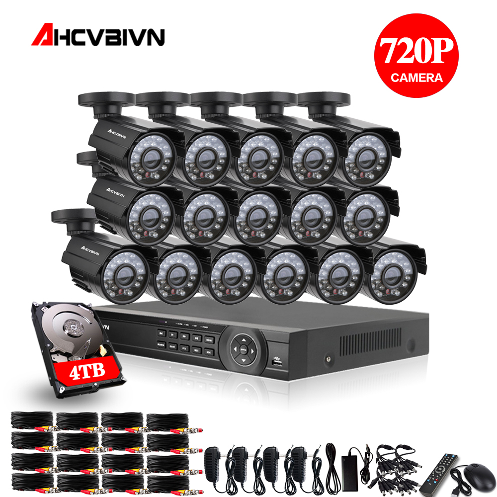 16CH 1080P HDMI DVR 2000TVL 720P HD Outdoor Surveillance Security Camera System 16 Channel CCTV DVR Kit AHD Camera Set 4TB HDD full hd 16 channel 1080p ahd dvr kit 16pcs video surveillance security outdoor indoor 720p camera 1 0mp camera 16ch cctv system