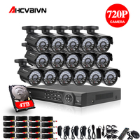 16CH 1080P HDMI DVR 2000TVL 720P HD Outdoor Surveillance Security Camera System 16 Channel CCTV DVR Kit AHD Camera Set 4TB HDD