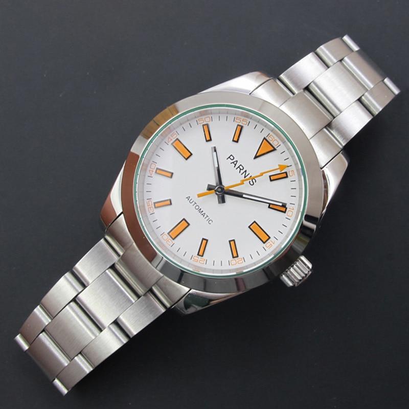 PARNIS 40MM Dial mechaniczny zegarek męski zegarek ze stali nierdzewnej Miyota 8215 automatyczne zegarki męskie relojes para automaticos 2019 zegar w Zegarki mechaniczne od Zegarki na  Grupa 1