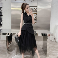 Fashion Spring Summer High Low Dresses sleeveless Elegant Slim long Puffy Party Dress White Women Tulle Dress