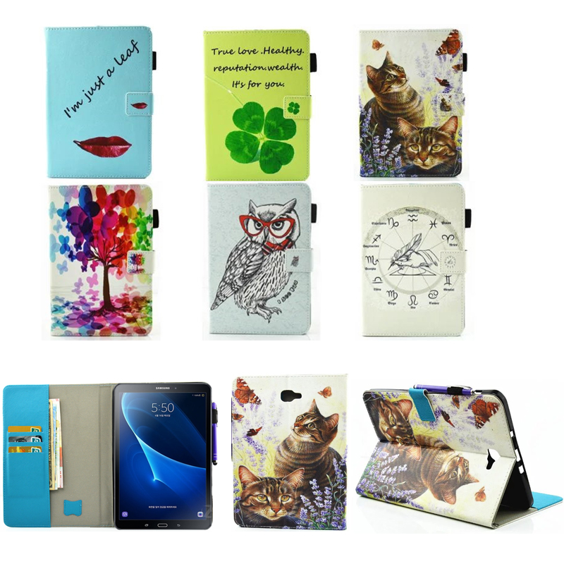 Fashion Case For Samsung Galaxy Tab A a6 10.1 2016 T580 T585 SM-T585 Case Cover Tablet Cartoon Print TPU+PU Leather Shell Funda tempered glass for samsung galaxy tab a 10 1 2016 screen protector for galaxy tab a 10 1 sm t580 sm t585 or sm p580 sm p585