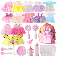 25pcs Baby Doll Bag Clothes Dresses Diapers Accessories with Doll Nappies,Umbrella, Milk Bottle for Fits 12'' 15 Random Color