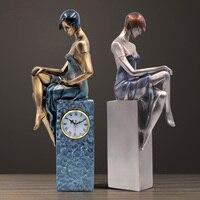 Современные европейские красивые часы статуя абстрактный характер Скульптура арт девушка фигурка Творческий Для женщин ремесел дома мягк