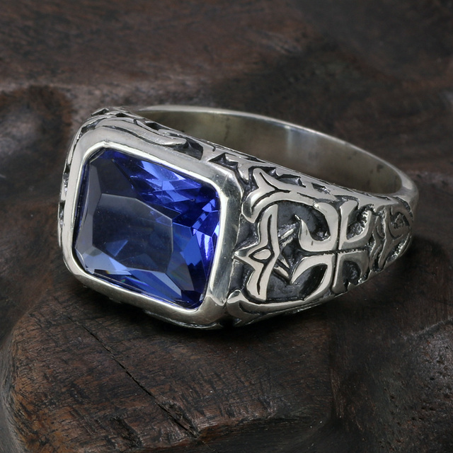 Real Pure 925 Sterling Silver Rings For Men Blue Natural Crystal Stone Mens Ring