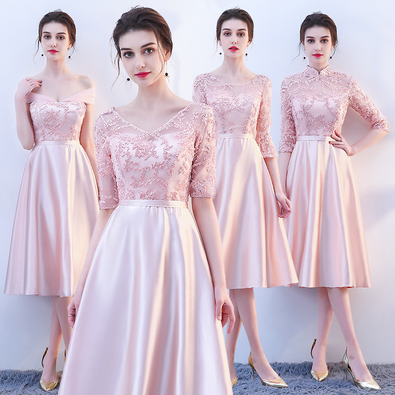 New Pink mid calf 110cm sweat lady girl women princess bridesmaid banquet party ball dress gown