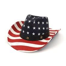High quality brand Cowboy hat Unisex cawboy sun American flag Riding outdoor Neutral straw make america great again