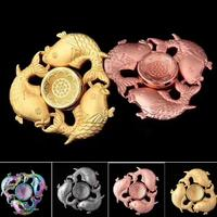Colorful Three Carp Chinese Style Triangle Fidget Spinner Metal Fingertip Gyro Hand Tri Spinner EDC Autism