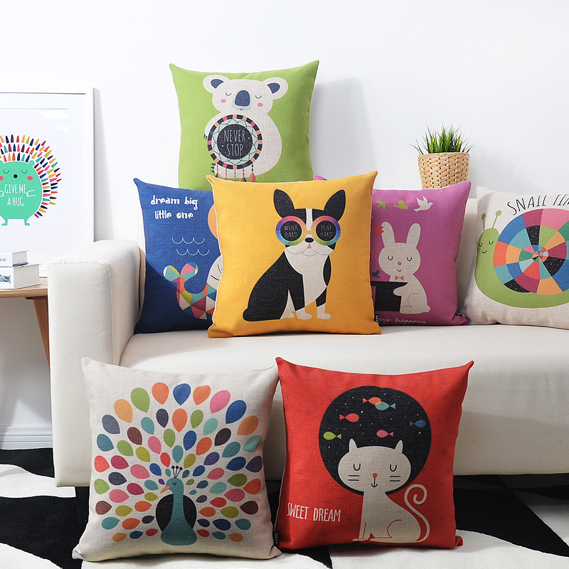 2016 Cute Cartoon Animal Printed Pillowcase Luxury Color Sofa Cusions Decorative Pillow Home Decor Throw Pillow 45*45 Almofadas