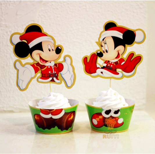 48pcs mickey mouse minnie mouse christmas cupcake wrappers xmas party favors cake toppers cupcake cases liner aw 0053 - Mickey Mouse Christmas Party Decorations