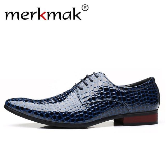1b8745742 Merkmak Novos Sapatos de Couro Para Os Homens de Crocodilo Padrão Xadrez  Formais Sapatos de Negócios