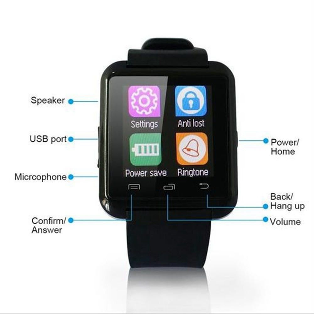 Bluetooth Smart Watch U80 para iPhone IOS Android Smart Phone Wear - Relojes para hombres - foto 5
