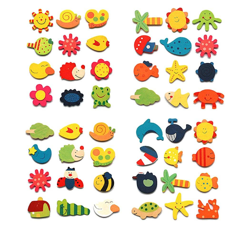 12 шт. животных мультфильм Деревянный магнит на холодильник Стикеры детские развивающие игрушки развития