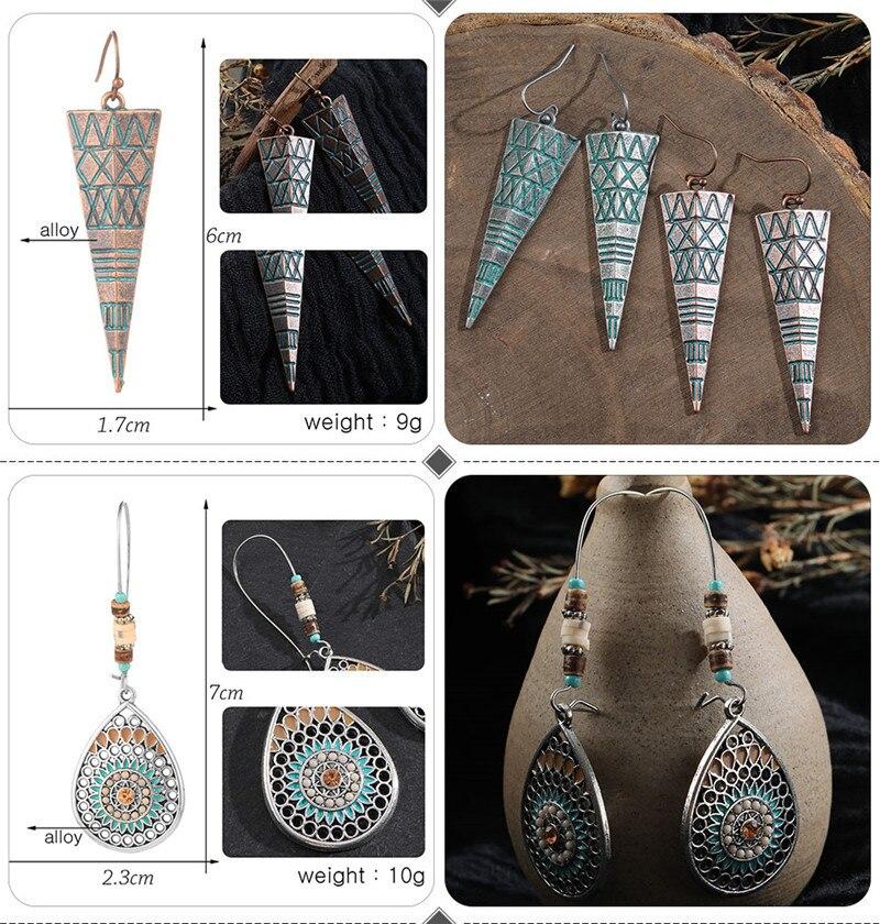 Vintage Bronze Geometric Women's Earrings Jewelry 2019 Long Metal Tass (5)