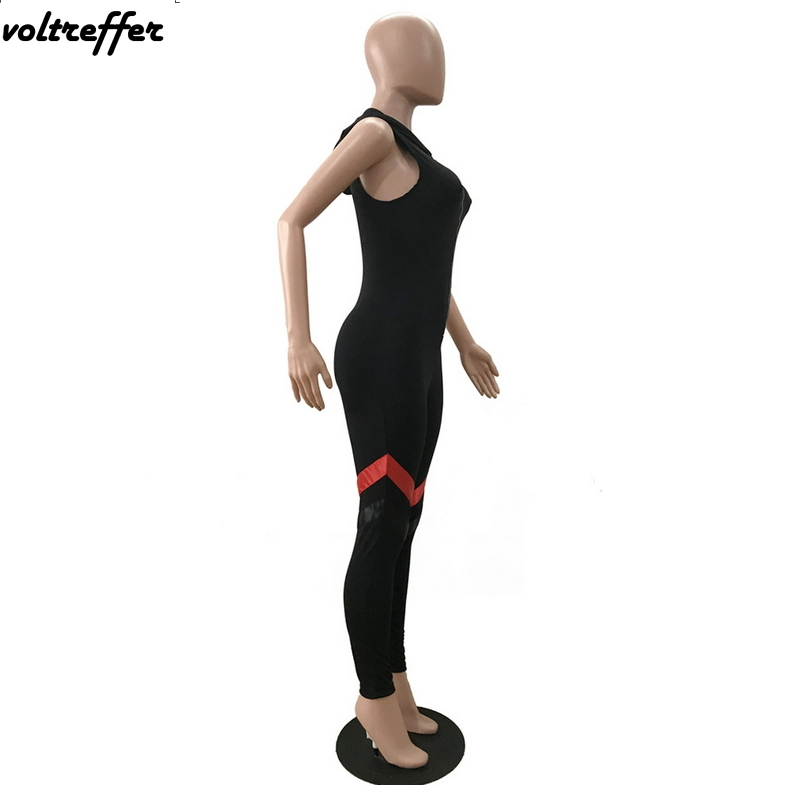 Black Hooded Combinaison Femme Zipper Bandage Rompers Womens Jumpsuit Sexy Body Femme Leotard Summer Tank 2018 bodysuit Casual
