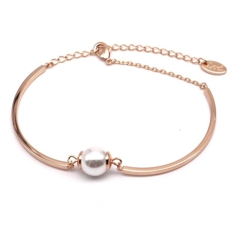 Simple gold color simulated pearl bracelet women elegant bracelets ...