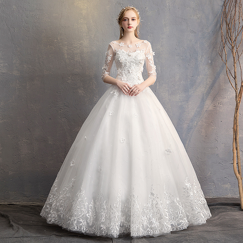 Do Dower 2019 New O Neck Three Quarter Wedding Dress Princess Flower Beading Lace Up Floor Length Wedding Gown Robe De Mariee L-in Wedding Dresses from Weddings & Events