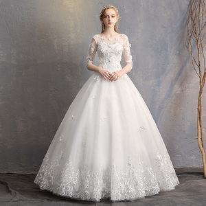 Image 1 - EZKUNTZA 2019 nouveau O cou trois quarts Robe De mariée princesse fleur perles à lacets étage longueur Robe De mariée Robe De mariée L