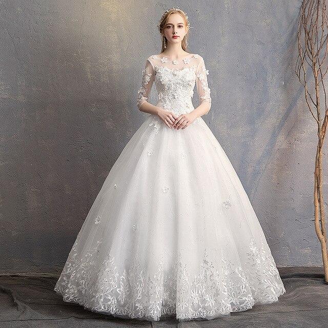 EZKUNTZA 2019 nouveau O cou trois quarts Robe De mariée princesse fleur perles à lacets étage longueur Robe De mariée Robe De mariée L