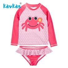 Kavkas/детская одежда для девочек Двойка набор для купания; сезон лето детская одежда для купания для девочек, краб принтованный купальник Infantil Falbala Гидромайки набор