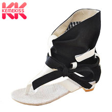 KemeKiss Big Size 34 43 Fashion font b Women b font Gladiator T straps Flat Heel