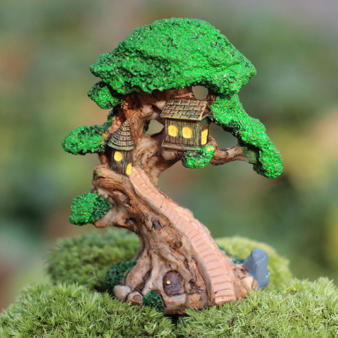 hermoso rbol de casa de madera en miniatura de resina plantas de musgo terrario de decoracin