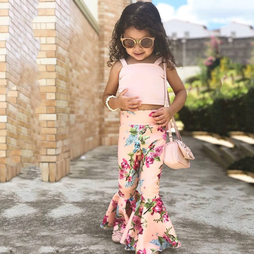 2PCS/SET Toddler Baby Girls Sleeveless Vest Top + Floral Bell-Bottoms Pants Outfit(China)