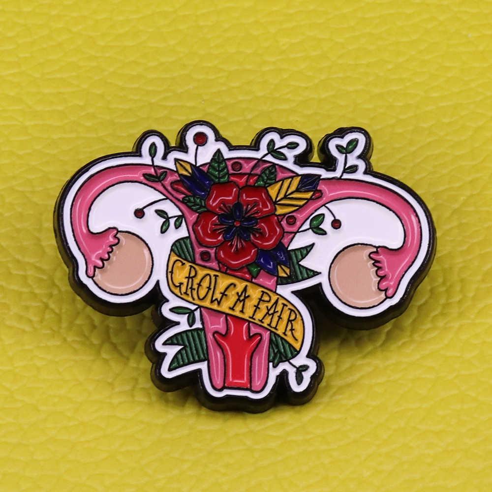 สตรีนิยมเคลือบ PIN สวนดอกไม้ป้ายของขวัญสาว Power Art ของขวัญสำหรับสาวนำเสนอ Grow คู่รังไข่สาว POWER Anatomic