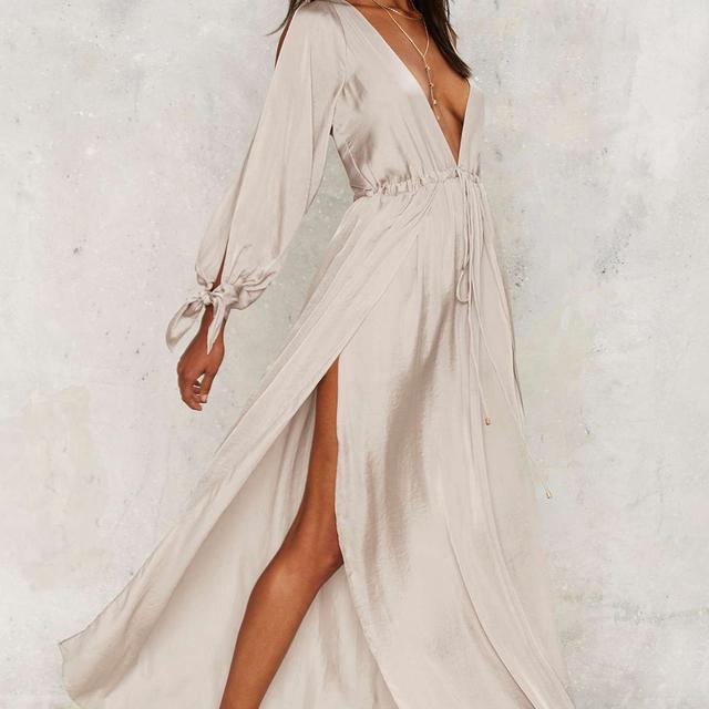 HYH HAOYIHUI Women Dress Solid Apricot Cold Shoulder Party Vestidos Long Sleeve Plunge Neck Split Elegant Maxi Dress