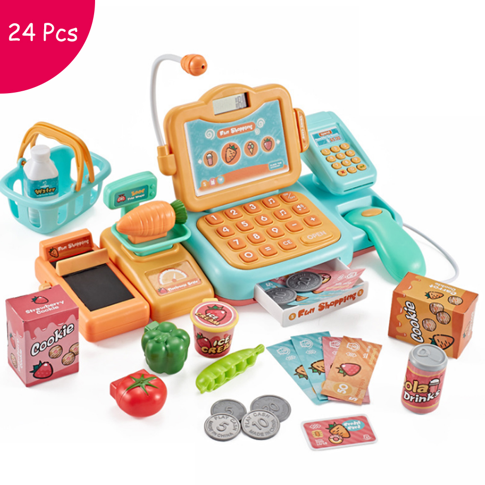 24Pcs Supermarket Checkout Counter Foods Goods Simulation Toys Kids Pretend Play Shopping Cash Register Set Toy For Girl's Gift