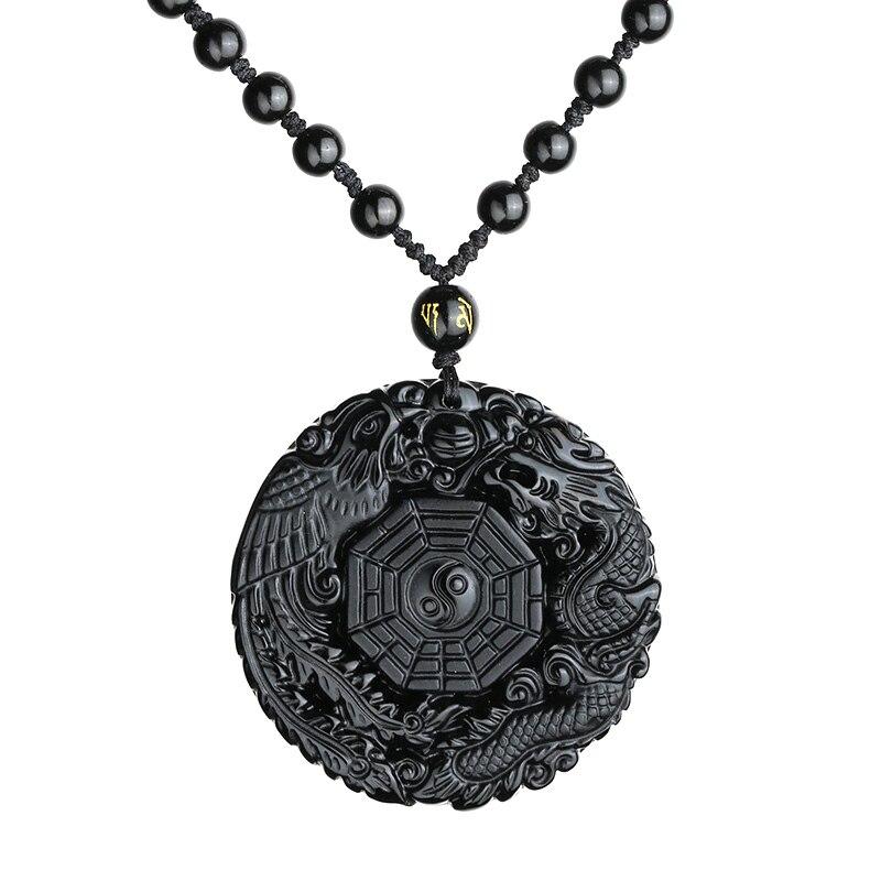 Sale 1pc 3 Styles Obsidian Adjustable Black Chain Crystal Stone Dragon Phoenix Gossip Pendant Necklace Women Beaded/cotton Chain Jewelry & Accessories Pendant Necklaces