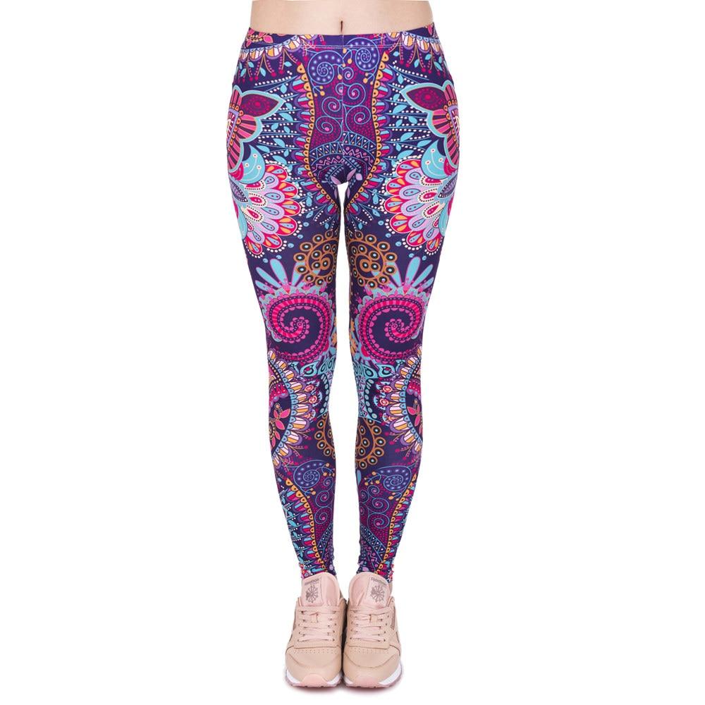 Brands Women Fashion Legging Aztec Round Ombre Printing leggins Slim High Waist  Leggings Woman Pants 34