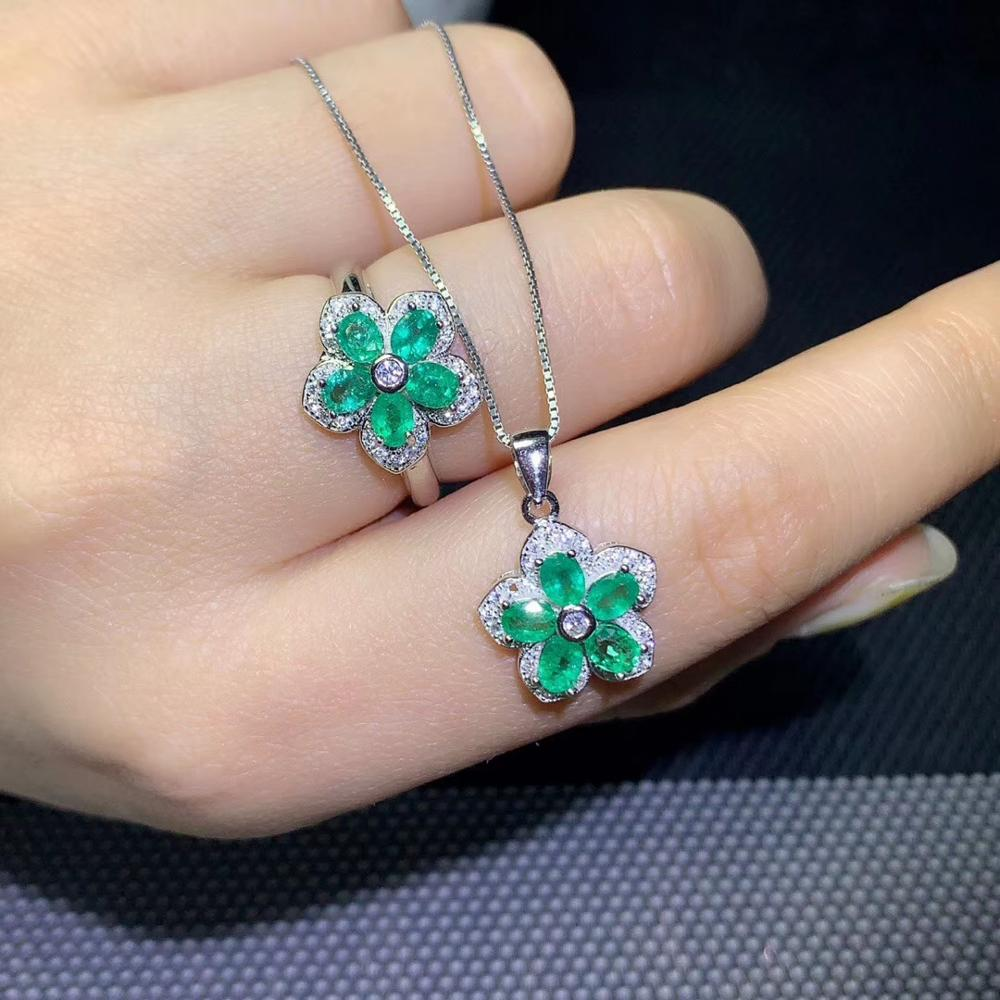 green flower gemstone ring and necklace  jewelry set with 925 silvergreen flower gemstone ring and necklace  jewelry set with 925 silver