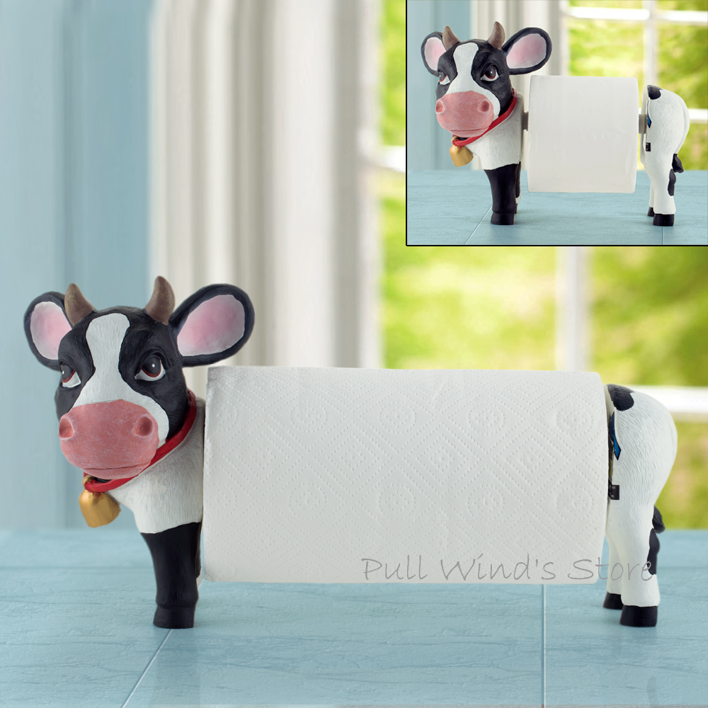 Lovely Cows home Paper towel holder Cute kitchen and bathroom telescopic Roll paper holder