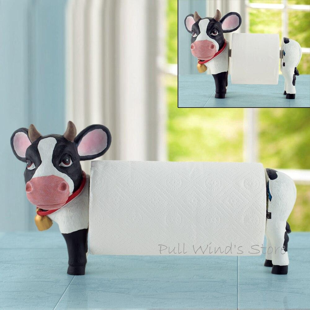 Belles vaches maison porte-serviettes en papier cuisine mignonne et salle de bain télescopique porte-rouleau de papier