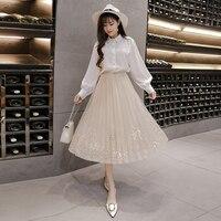 Appliques Embellished Tulle Women's Skirt O Fairy Style Jupe Femme Pastel Saia Midi Chic Pleated Summer Skirt Faldas Mujer Moda