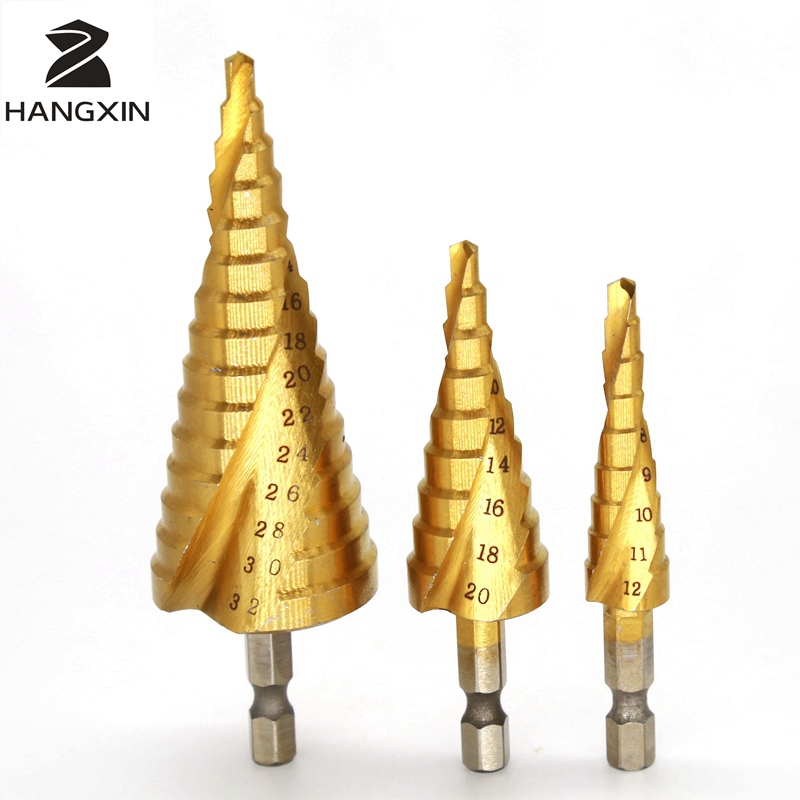 HSS Stair Drill 4-12mm 20mm 32mm Spiral Groove Center Mini Solid Carbide Drill Bit Drilling Accessories Titanium Step Cone Metal spiral groove step drill golden 3 pcs imperial system