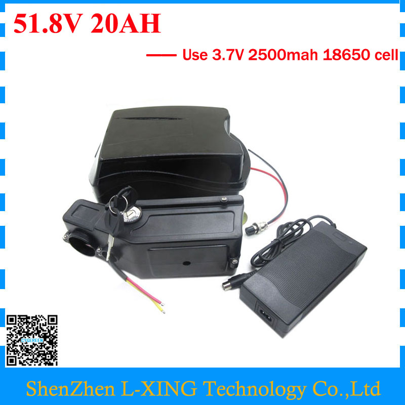 Free customs duty 51.8V 20AH battery 52V 20AH e bike electric scooter battery 52 V 14S Lithium battery use 3.7V 2500mah cell free customs taxes customized power battery 51 8v 52v 50ah lithium battery pack for scooter motocycle e bike ups ev led lights