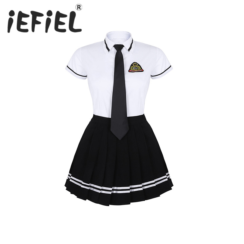 Newest Teenage Women School Girls Uniform Suit Cosplay Costume Short Sleeve T-shirt Top Black Pleated Skirt with Badge Tie Set