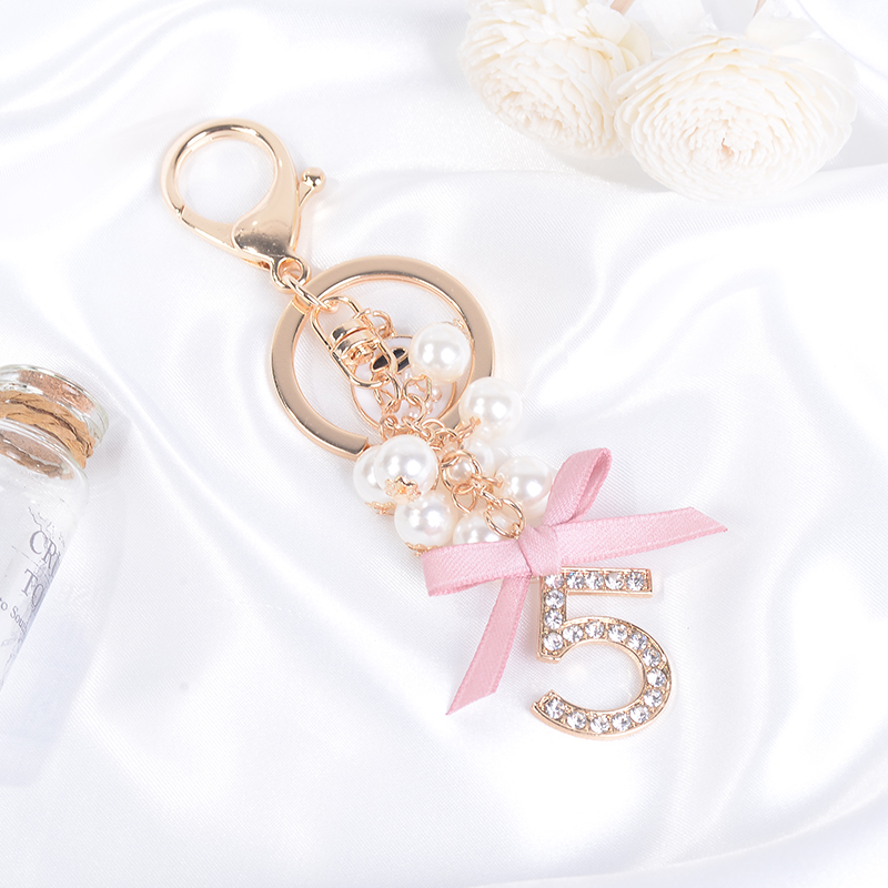 Felyskep Bow Knot Rhinestone Key Chain With Number Five For Bag Pendant Fashion Car Keychain Charm Pearl Flower Key Ring 314CH