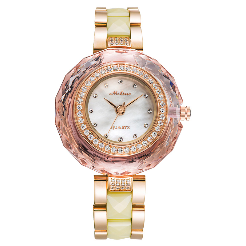 все цены на Luxury Lady Women's Watch Ceramic Elegant Rhinestone Fashion Fine Hours Dress Bracelet Crystal Girl Birthday Gift Melissa Box