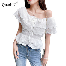 QoerliN Lace Up Blouse Women Sexy Off Shoulder Short Sleeve Slim Shirts Female Plus Size White Hollow Out Short Tops Blouse S-L